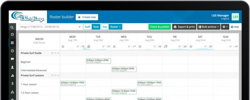 Manage your bookings with Rezgo, schedule your staff with Ento