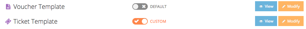 Select whether or not you want to use the default or custom ticket and voucher template
